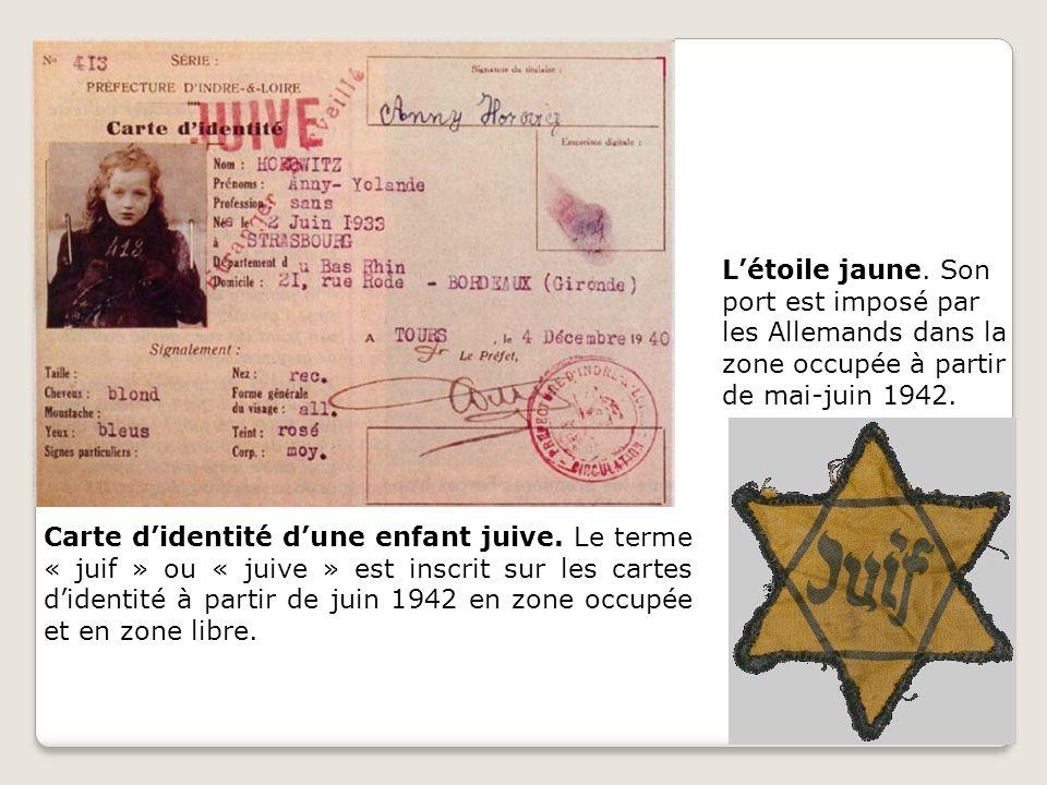 Carte didentité dune enfant juive. Le terme « juif » ou « juive » est inscrit sur les cartes didentité à partir de juin 1942 en zone occupée et en zon