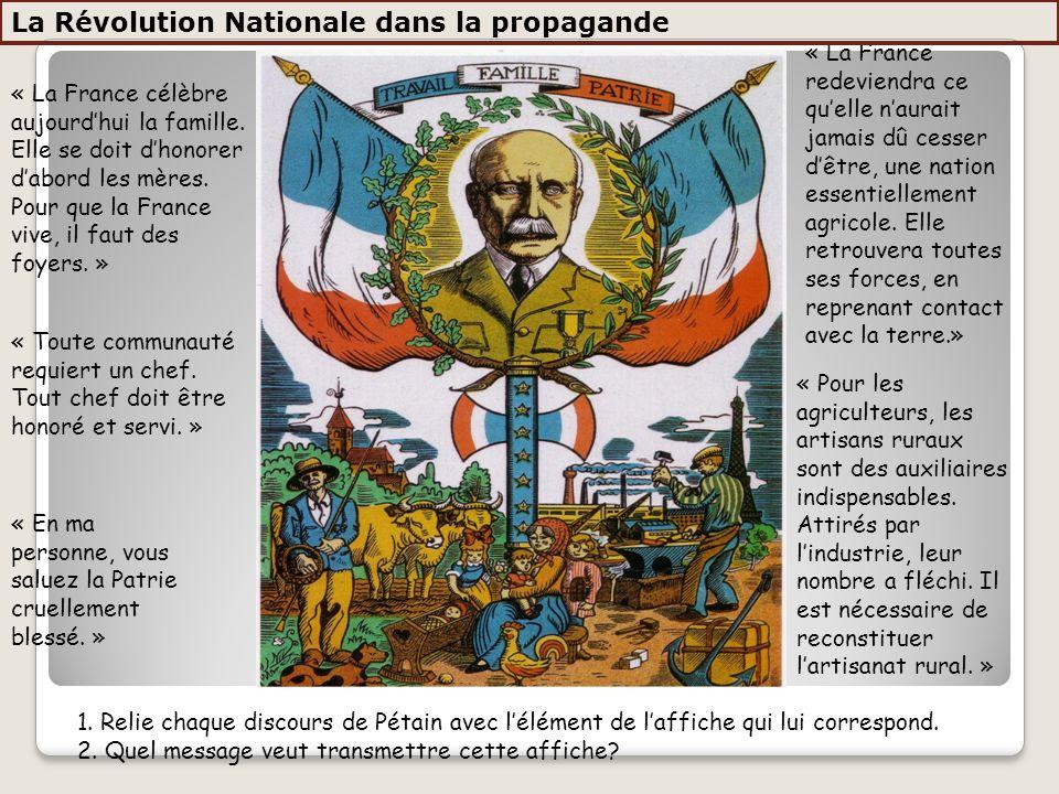 « La France célèbre aujourdhui la famille. Elle se doit dhonorer dabord les mères. Pour que la France vive, il faut des foyers. » « Toute communauté r