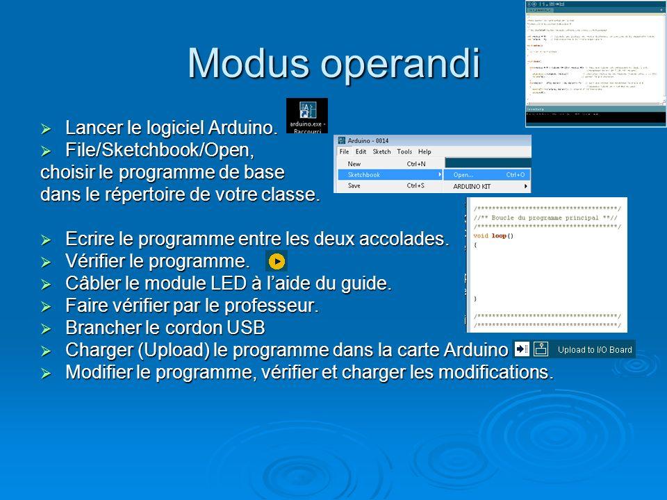 Modus operandi Lancer le logiciel Arduino. Lancer le logiciel Arduino. File/Sketchbook/Open, File/Sketchbook/Open, choisir le programme de base dans l