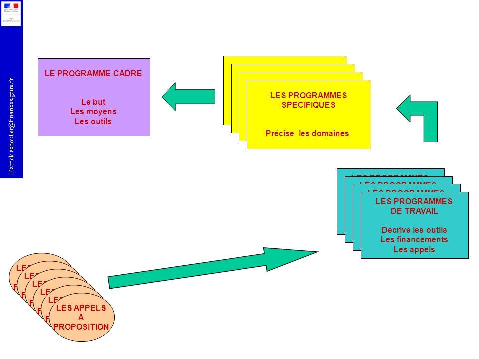 Patrick.schouller@finances.gouv.fr LE PROGRAMME CADRE Le but Les moyens Les outils LES PROGRAMMES SPECIFIQUES Précise les domaines LES PROGRAMMES SPEC