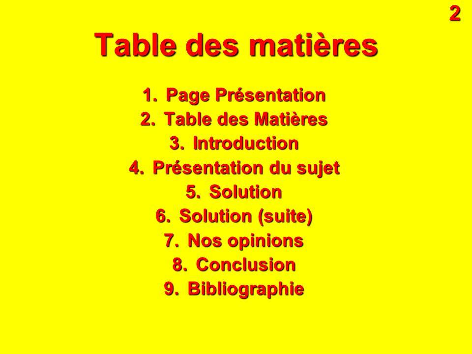 Table des matières 1.Page Présentation 2.Table des Matières 3.Introduction 4.Présentation du sujet 5.Solution 6.Solution (suite) 7.Nos opinions 8.Conc
