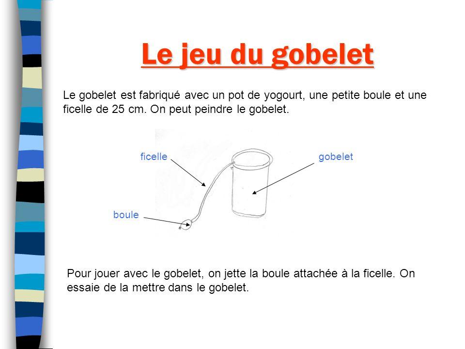 Le jeu du gobelet Le gobelet est fabriqué avec un pot de yogourt, une petite boule et une ficelle de 25 cm. On peut peindre le gobelet. Pour jouer ave