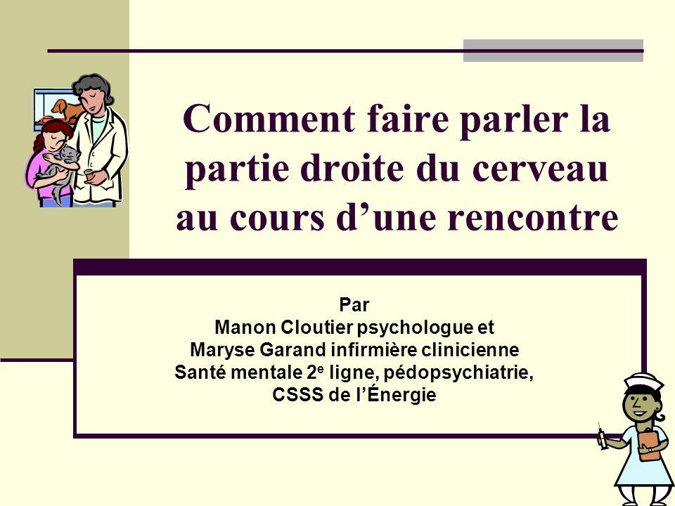 Comment faire parler la partie droite du cerveau au cours dune rencontre Par Manon Cloutier psychologue et Maryse Garand infirmière clinicienne Santé