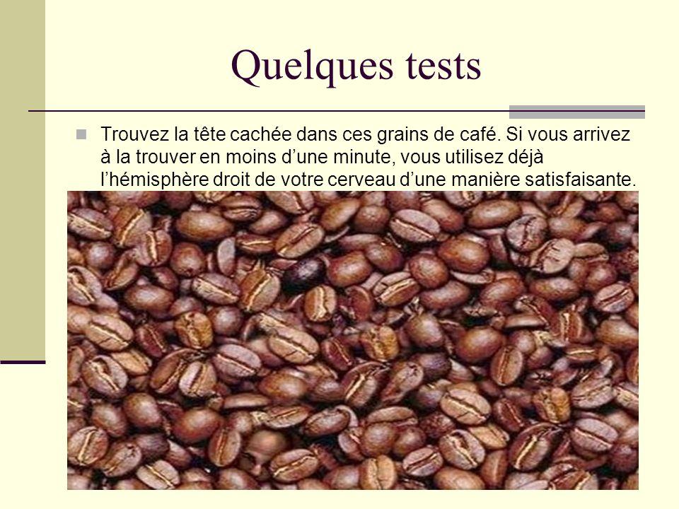 Quelques tests Trouvez la tête cachée dans ces grains de café. Si vous arrivez à la trouver en moins dune minute, vous utilisez déjà lhémisphère droit