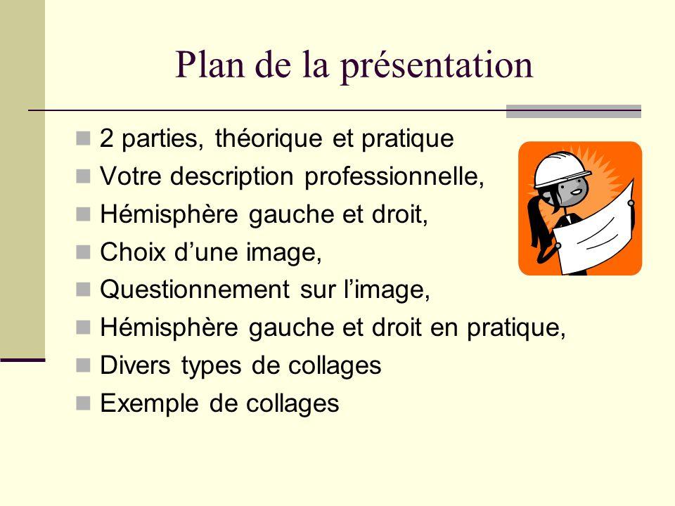 Plan de la présentation 2 parties, théorique et pratique Votre description professionnelle, Hémisphère gauche et droit, Choix dune image, Questionneme