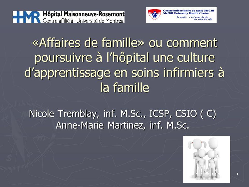1 «Affaires de famille» ou comment poursuivre à lhôpital une culture dapprentissage en soins infirmiers à la famille Nicole Tremblay, inf. M.Sc., ICSP