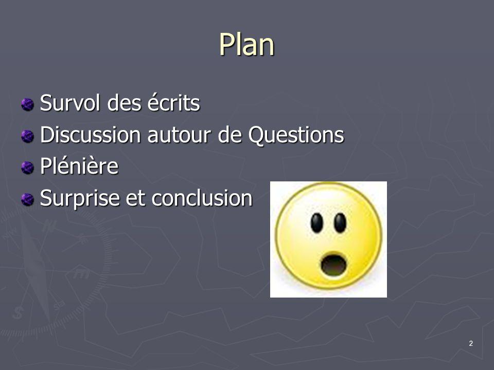 2 Plan Survol des écrits Discussion autour de Questions Plénière Surprise et conclusion