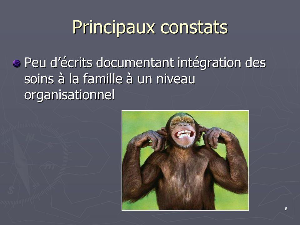 6 Principaux constats Peu décrits documentant intégration des soins à la famille à un niveau organisationnel