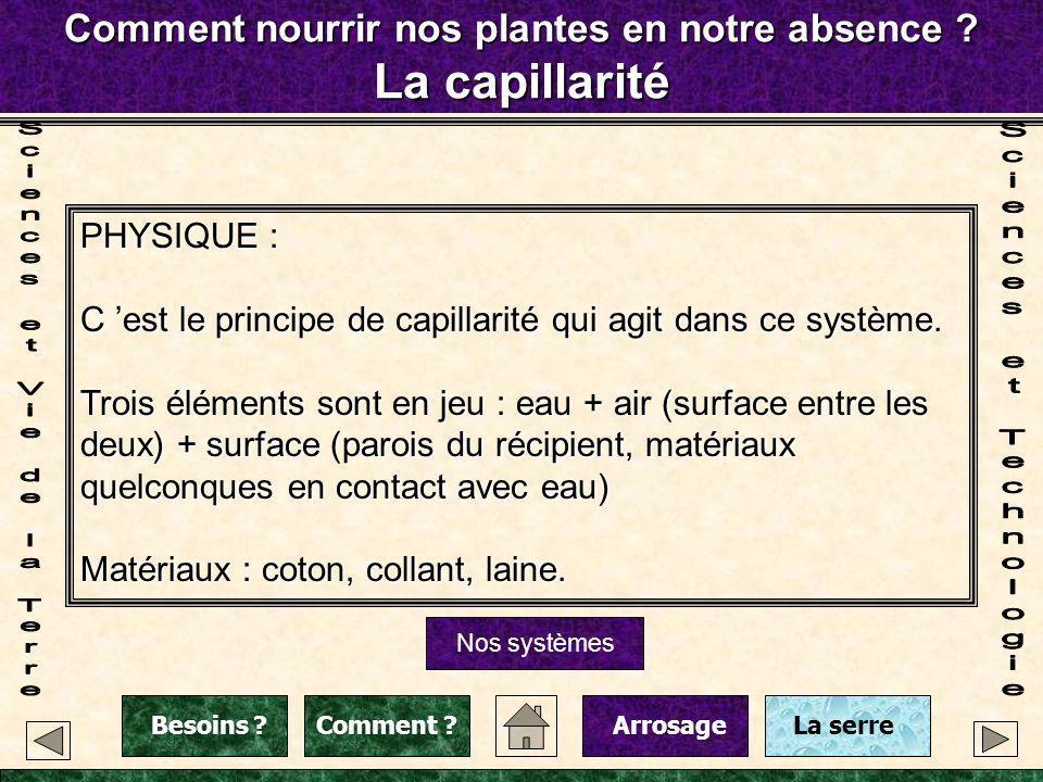 Comment nourrir nos plantes en notre absence ? La capillarité Nos systèmes PHYSIQUE : C est le principe de capillarité qui agit dans ce système. Trois