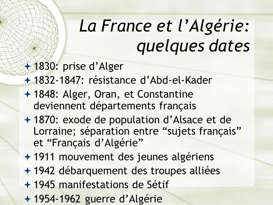 La France et lAlgérie: quelques dates 1830: prise dAlger 1832-1847: résistance dAbd-el-Kader 1848: Alger, Oran, et Constantine deviennent départements