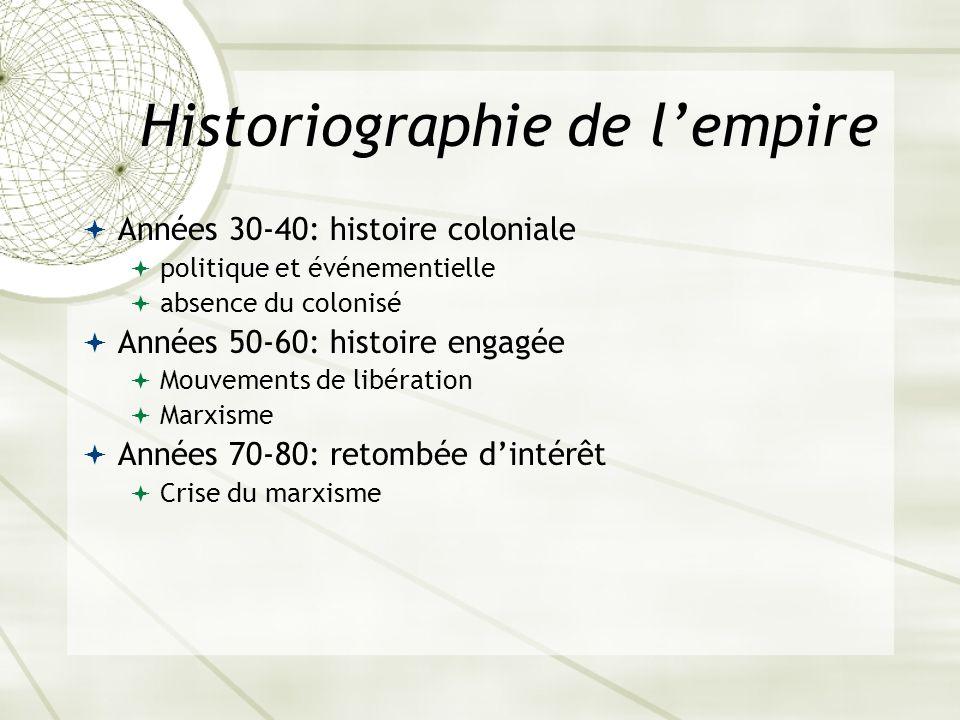 Historiographie de lempire Années 30-40: histoire coloniale politique et événementielle absence du colonisé Années 50-60: histoire engagée Mouvements