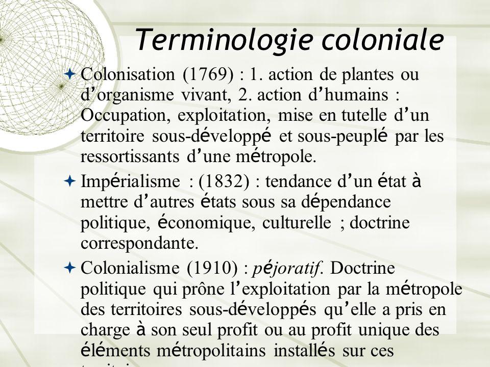 Terminologie coloniale Colonisation (1769) : 1. action de plantes ou d organisme vivant, 2. action d humains : Occupation, exploitation, mise en tutel
