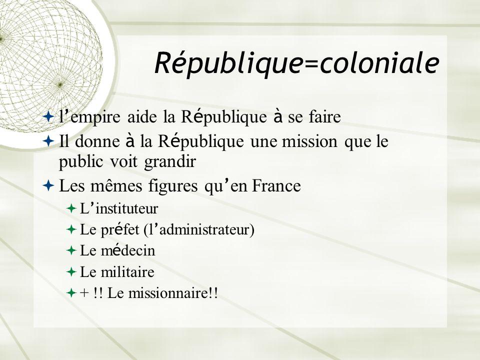 République=coloniale l empire aide la R é publique à se faire Il donne à la R é publique une mission que le public voit grandir Les mêmes figures qu e
