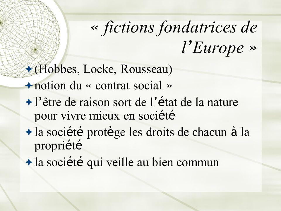 « fictions fondatrices de l Europe » (Hobbes, Locke, Rousseau) notion du « contrat social » l être de raison sort de l é tat de la nature pour vivre m