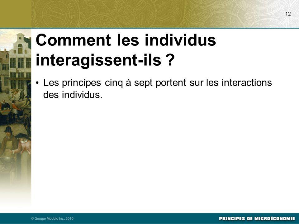 Comment les individus interagissent-ils ? Les principes cinq à sept portent sur les interactions des individus. 12
