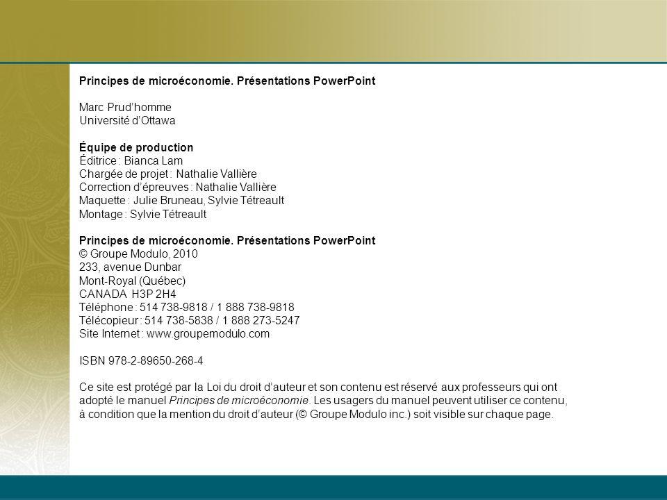 Principes de microéconomie. Présentations PowerPoint Marc Prudhomme Université dOttawa Équipe de production Éditrice : Bianca Lam Chargée de projet :