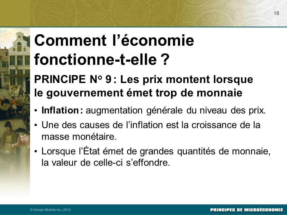 Comment léconomie fonctionne-t-elle ? PRINCIPE N o 9 : Les prix montent lorsque le gouvernement émet trop de monnaie Inflation : augmentation générale
