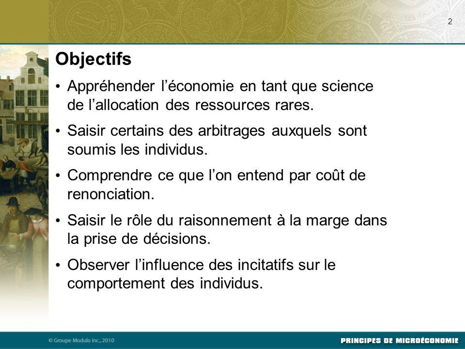 Objectifs Appréhender léconomie en tant que science de lallocation des ressources rares. Saisir certains des arbitrages auxquels sont soumis les indiv