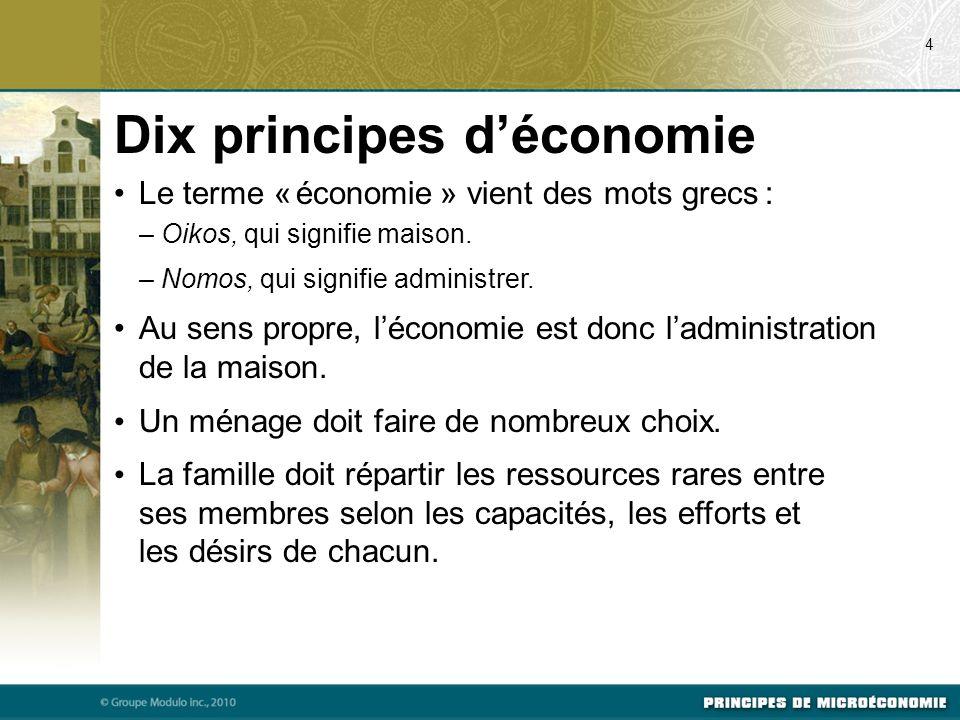 Dix principes déconomie Le terme « économie » vient des mots grecs : – Oikos, qui signifie maison. – Nomos, qui signifie administrer. Au sens propre,