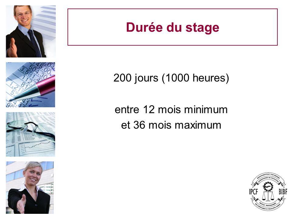 Durée du stage 200 jours (1000 heures) entre 12 mois minimum et 36 mois maximum