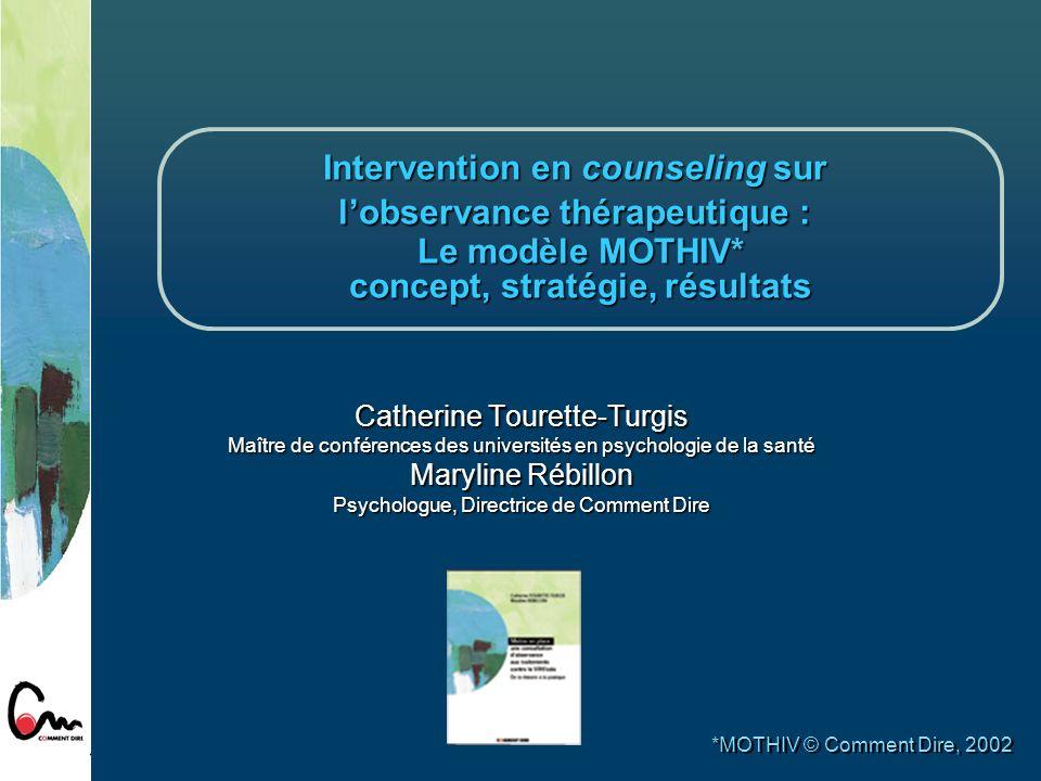 MOTHIV : concept et stratégie 1.Une définition opérationnelle de lobservance thérapeutique 2.