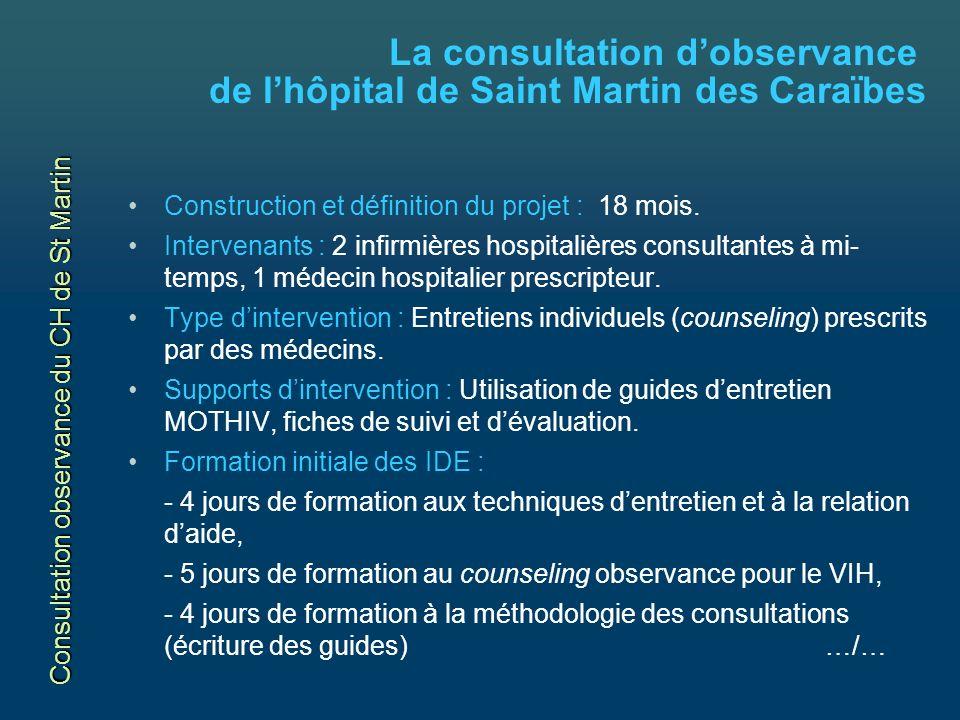 La consultation dobservance de lhôpital de Saint Martin des Caraïbes Construction et définition du projet : 18 mois.