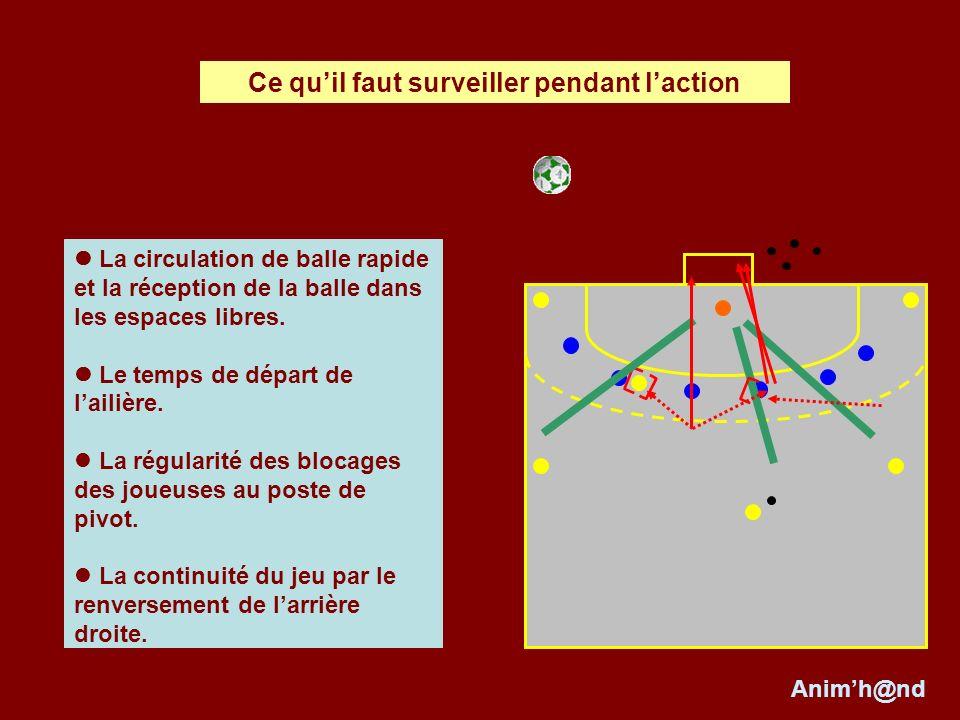 La circulation de balle rapide et la réception de la balle dans les espaces libres. Le temps de départ de lailière. La régularité des blocages des jou