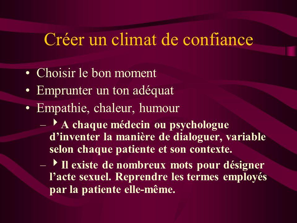Créer un climat de confiance Choisir le bon moment Emprunter un ton adéquat Empathie, chaleur, humour – A chaque médecin ou psychologue dinventer la manière de dialoguer, variable selon chaque patiente et son contexte.
