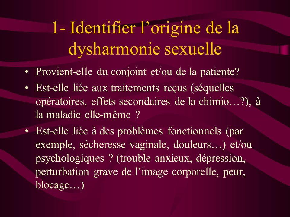 1- Identifier lorigine de la dysharmonie sexuelle Provient-elle du conjoint et/ou de la patiente.