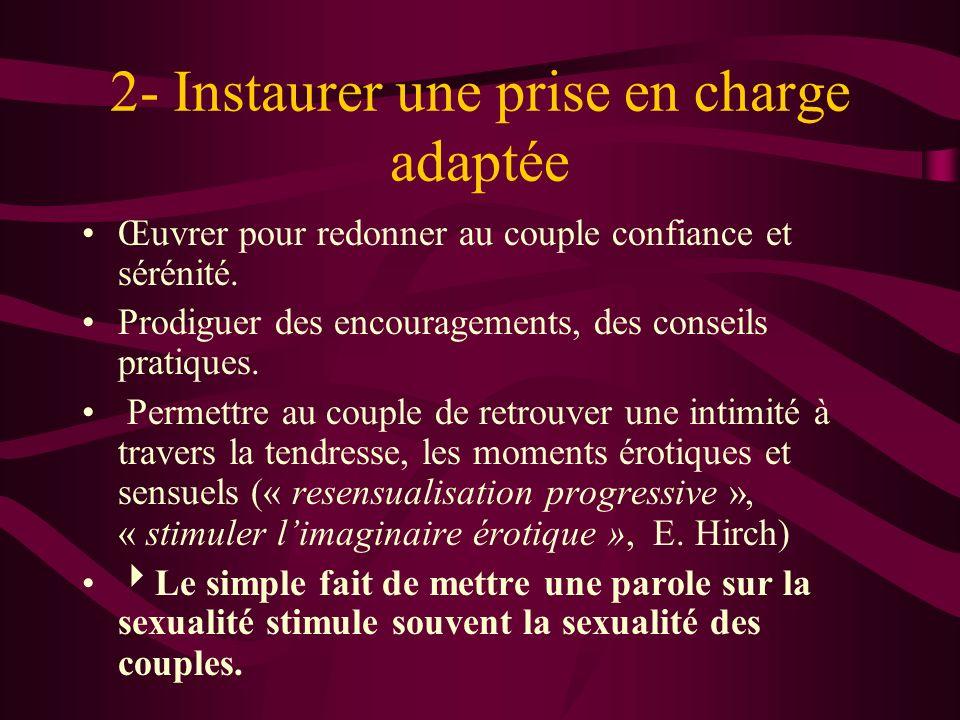 2- Instaurer une prise en charge adaptée Œuvrer pour redonner au couple confiance et sérénité.