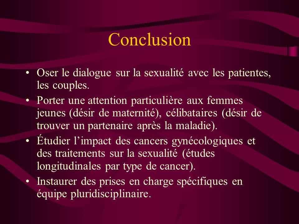 Conclusion Oser le dialogue sur la sexualité avec les patientes, les couples.