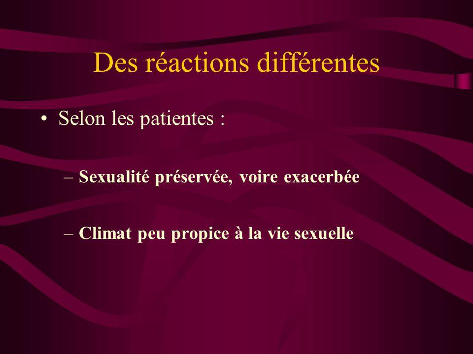 Des réactions différentes Selon les patientes : –Sexualité préservée, voire exacerbée –Climat peu propice à la vie sexuelle