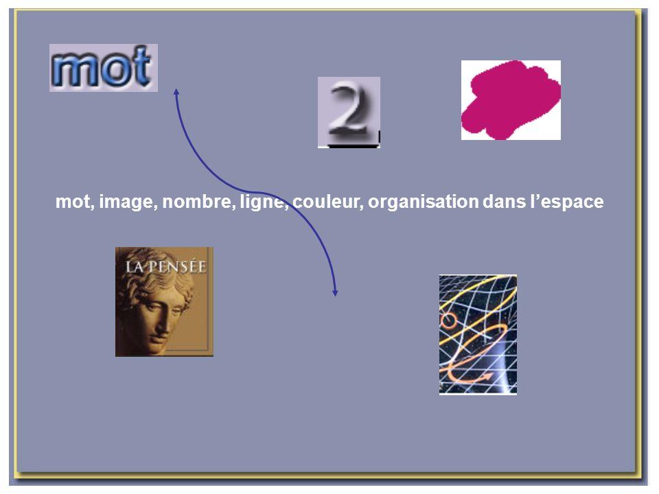 mot, image, nombre, ligne, couleur, organisation dans lespace