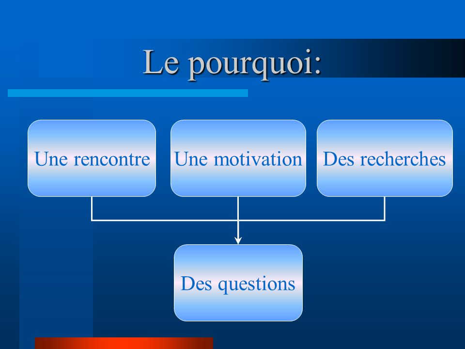 Le pourquoi: Une motivationDes recherches Des questions Une rencontre
