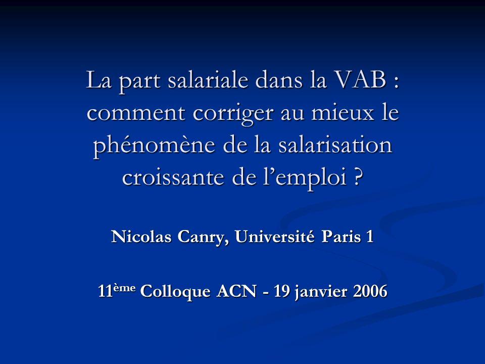 La part salariale dans la VAB : comment corriger au mieux le phénomène de la salarisation croissante de lemploi ? Nicolas Canry, Université Paris 1 11