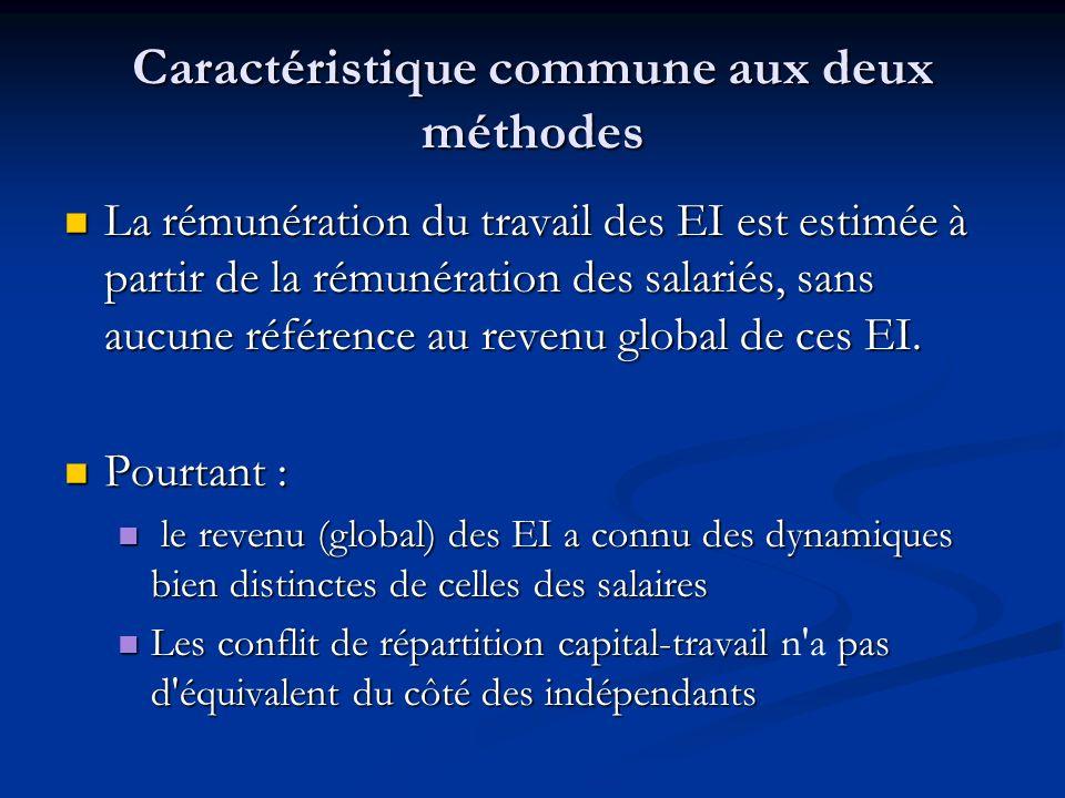 Caractéristique commune aux deux méthodes La rémunération du travail des EI est estimée à partir de la rémunération des salariés, sans aucune référenc