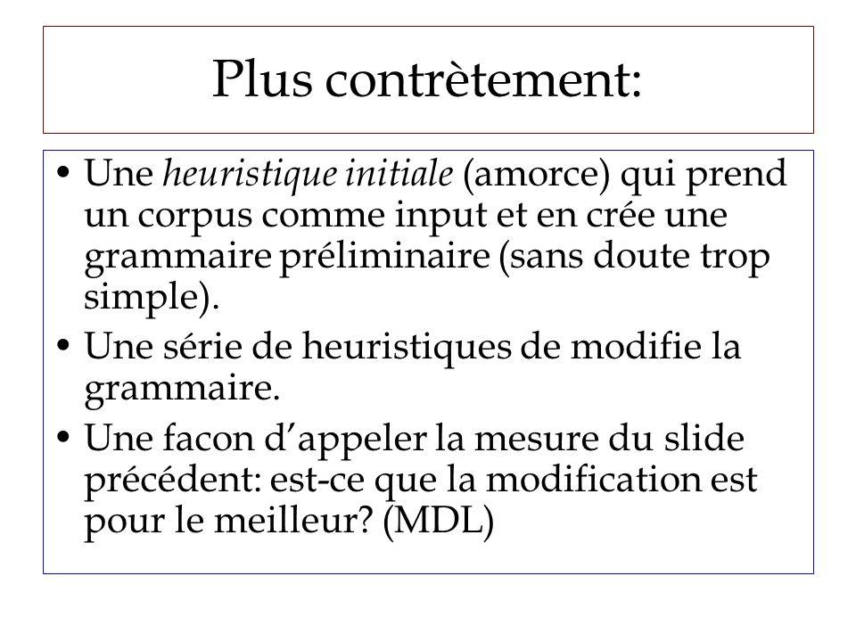 Plus contrètement: Une heuristique initiale (amorce) qui prend un corpus comme input et en crée une grammaire préliminaire (sans doute trop simple).