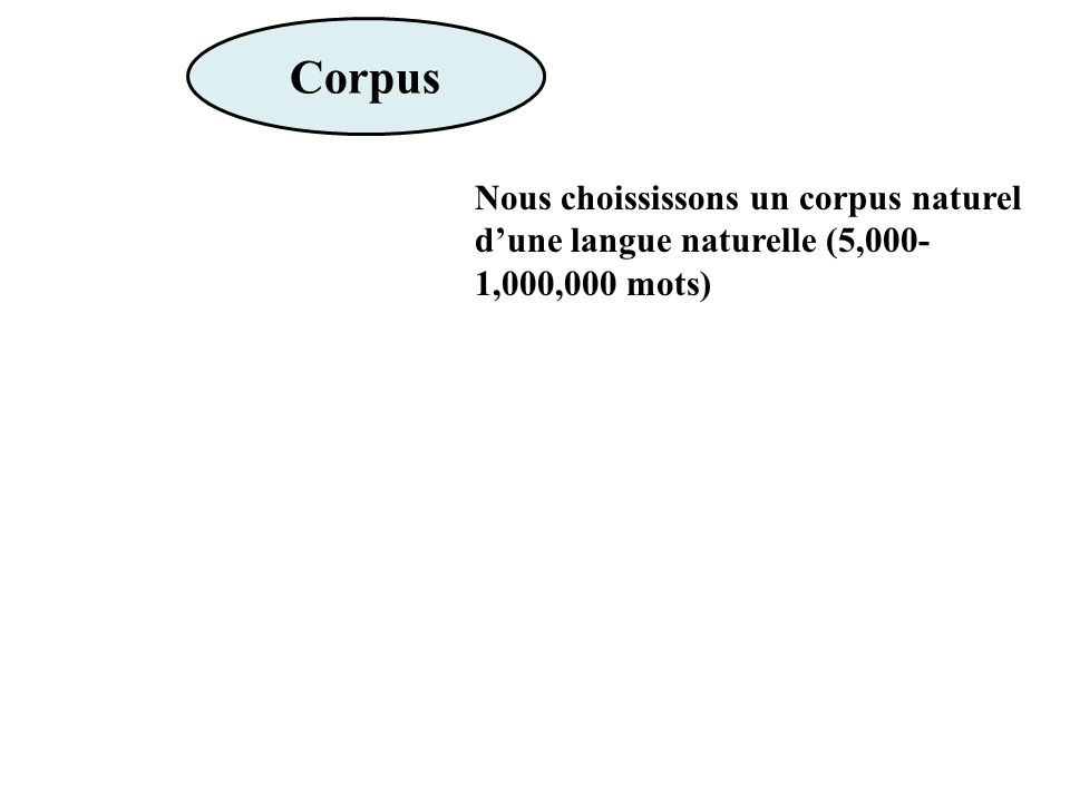 Corpus Nous choississons un corpus naturel dune langue naturelle (5,000- 1,000,000 mots)