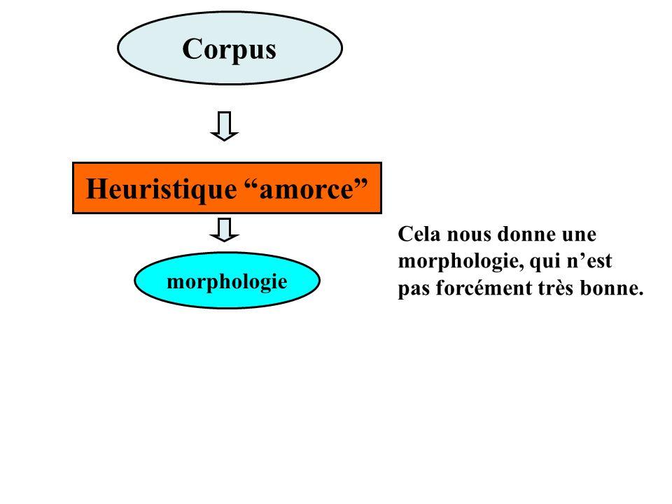 Corpus Cela nous donne une morphologie, qui nest pas forcément très bonne.