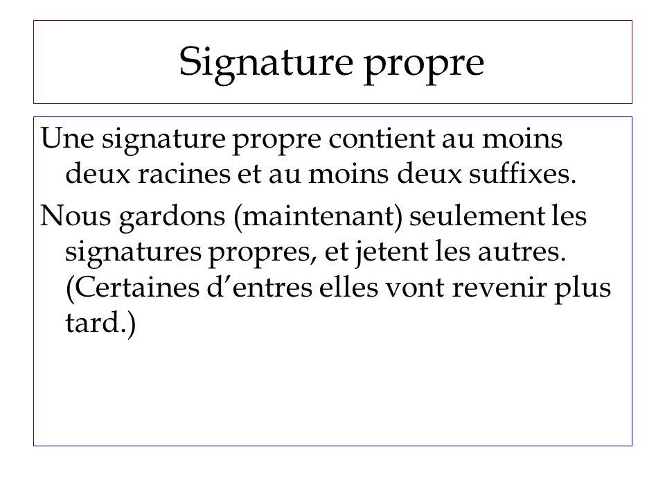 Signature propre Une signature propre contient au moins deux racines et au moins deux suffixes.