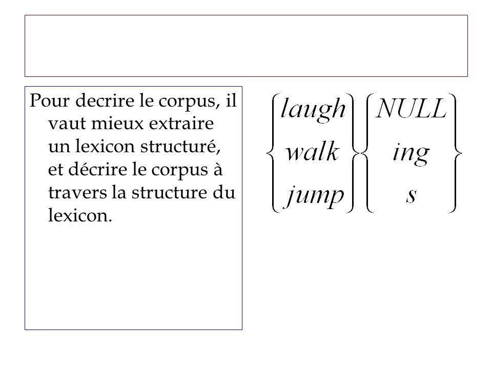 Pour decrire le corpus, il vaut mieux extraire un lexicon structuré, et décrire le corpus à travers la structure du lexicon.