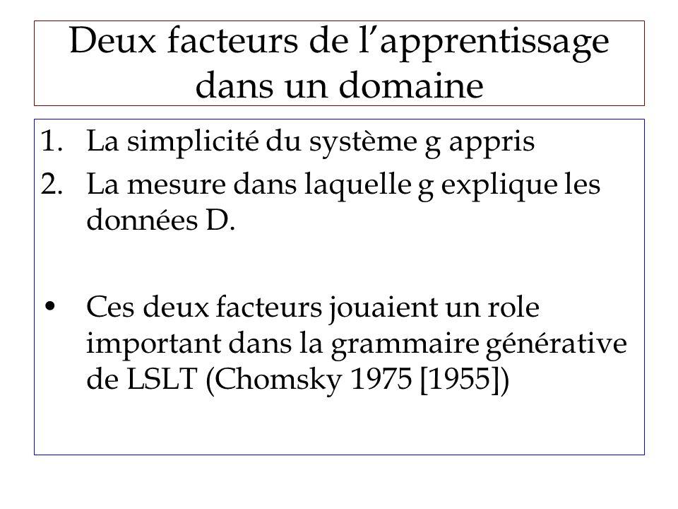 Deux facteurs de lapprentissage dans un domaine 1.La simplicité du système g appris 2.La mesure dans laquelle g explique les données D.