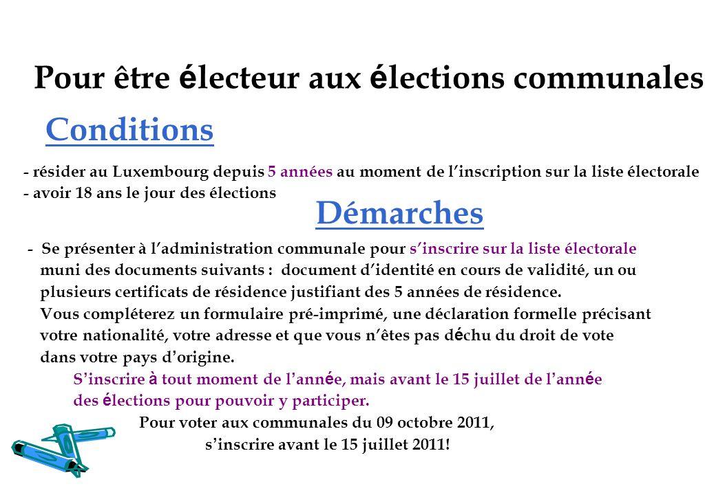 Conditions - Se présenter à ladministration communale pour sinscrire sur la liste électorale muni des documents suivants : document didentité en cours