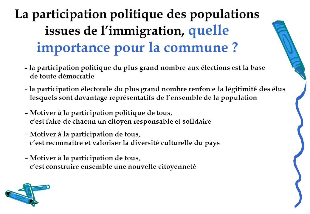 La participation politique des populations issues de limmigration, quelle importance pour la commune ? – la participation politique du plus grand nomb