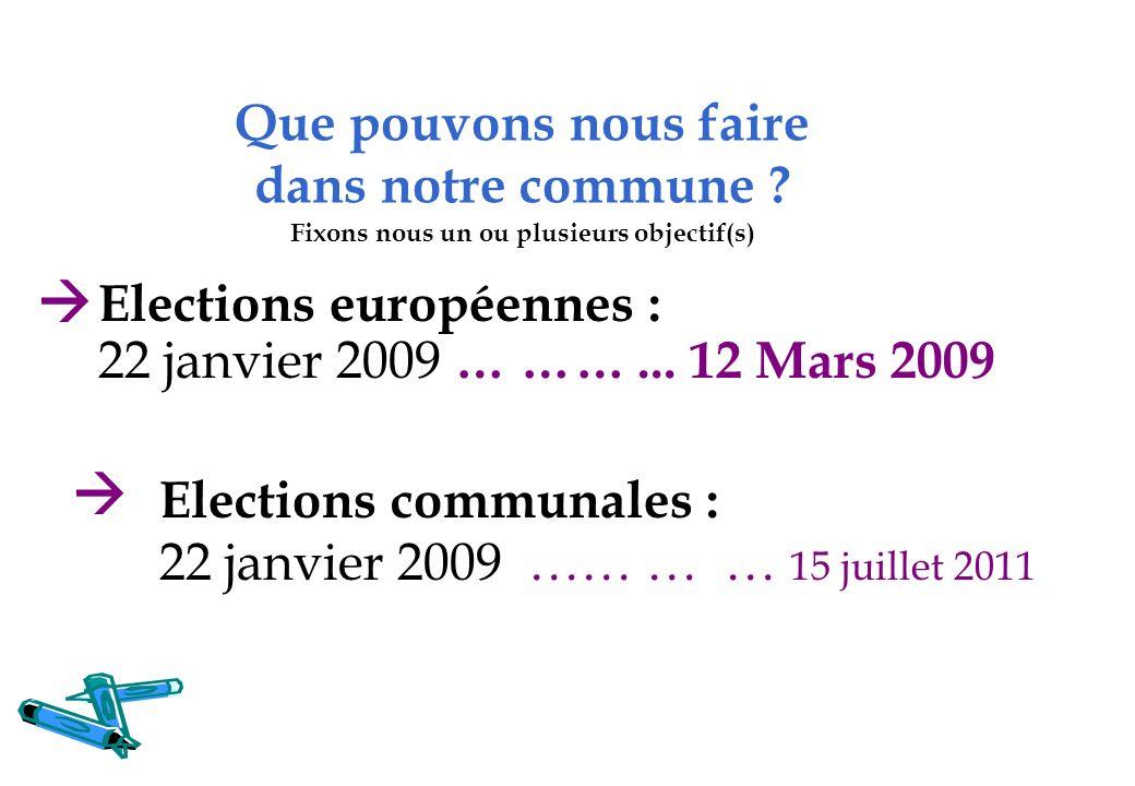 Que pouvons nous faire dans notre commune ? Fixons nous un ou plusieurs objectif(s) Elections européennes : 22 janvier 2009 … ……... 12 Mars 2009 Elect