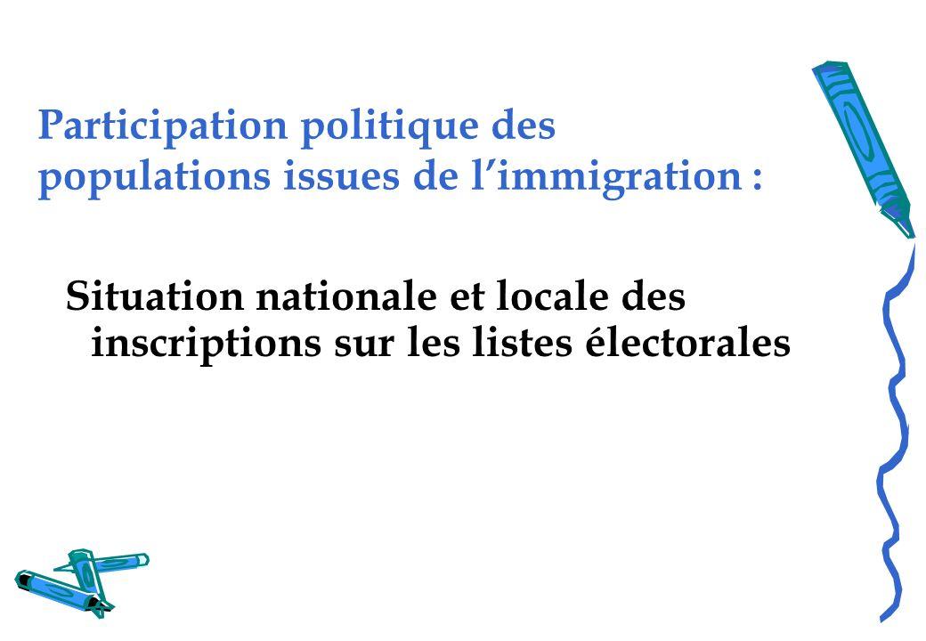 Participation politique des populations issues de limmigration : Situation nationale et locale des inscriptions sur les listes électorales