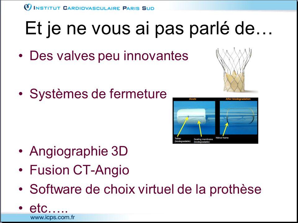 Et je ne vous ai pas parlé de… Des valves peu innovantes Systèmes de fermeture Angiographie 3D Fusion CT-Angio Software de choix virtuel de la prothès