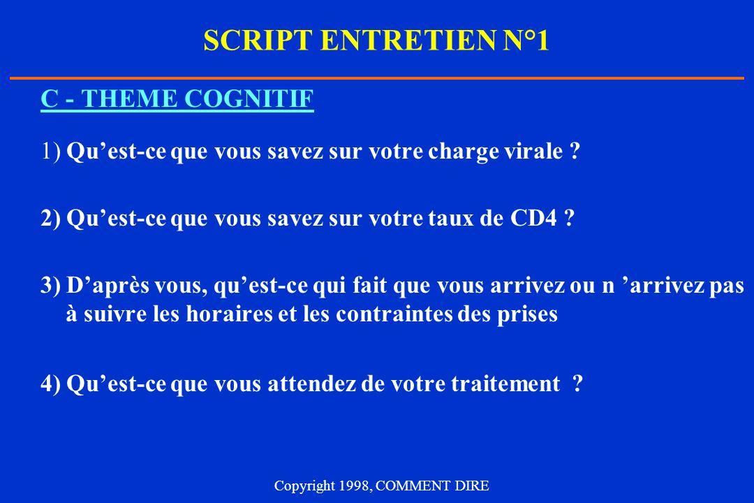 SCRIPT ENTRETIEN N°1 C - THEME COGNITIF 1) Quest-ce que vous savez sur votre charge virale ? 2) Quest-ce que vous savez sur votre taux de CD4 ? 3) Dap