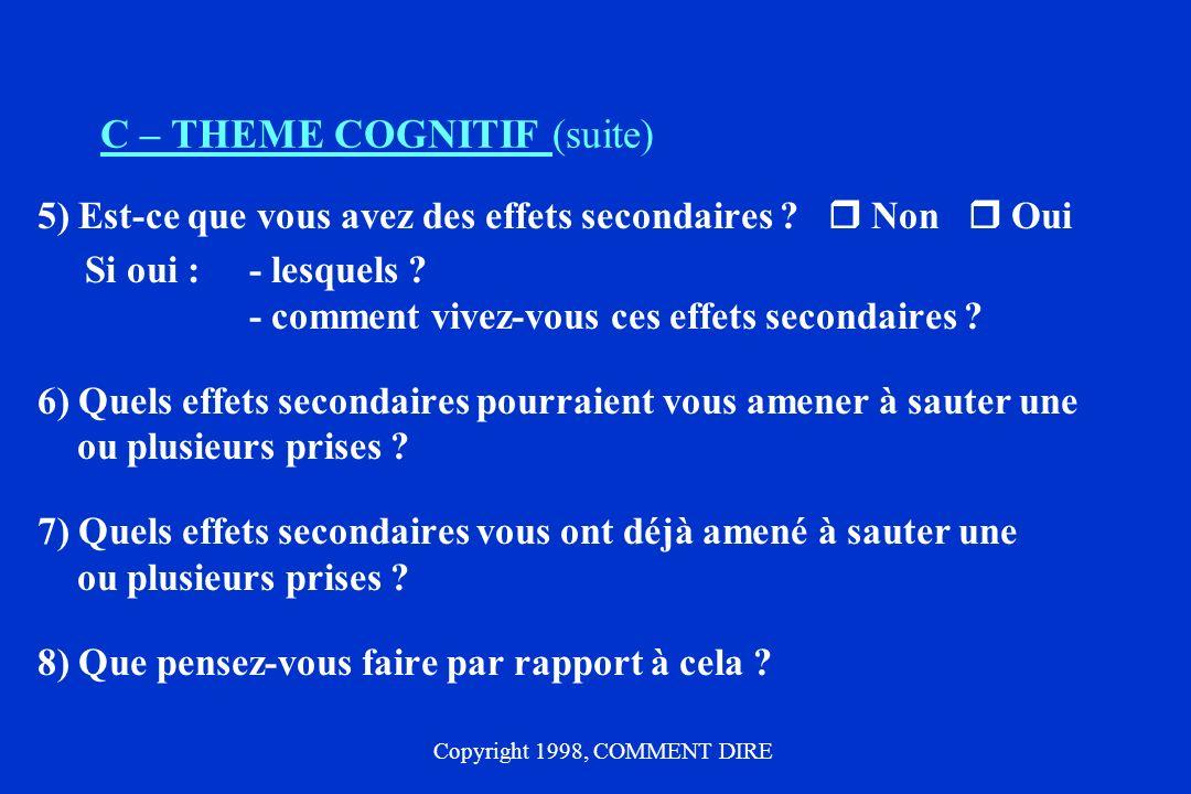 C – THEME COGNITIF (suite) 5) Est-ce que vous avez des effets secondaires .