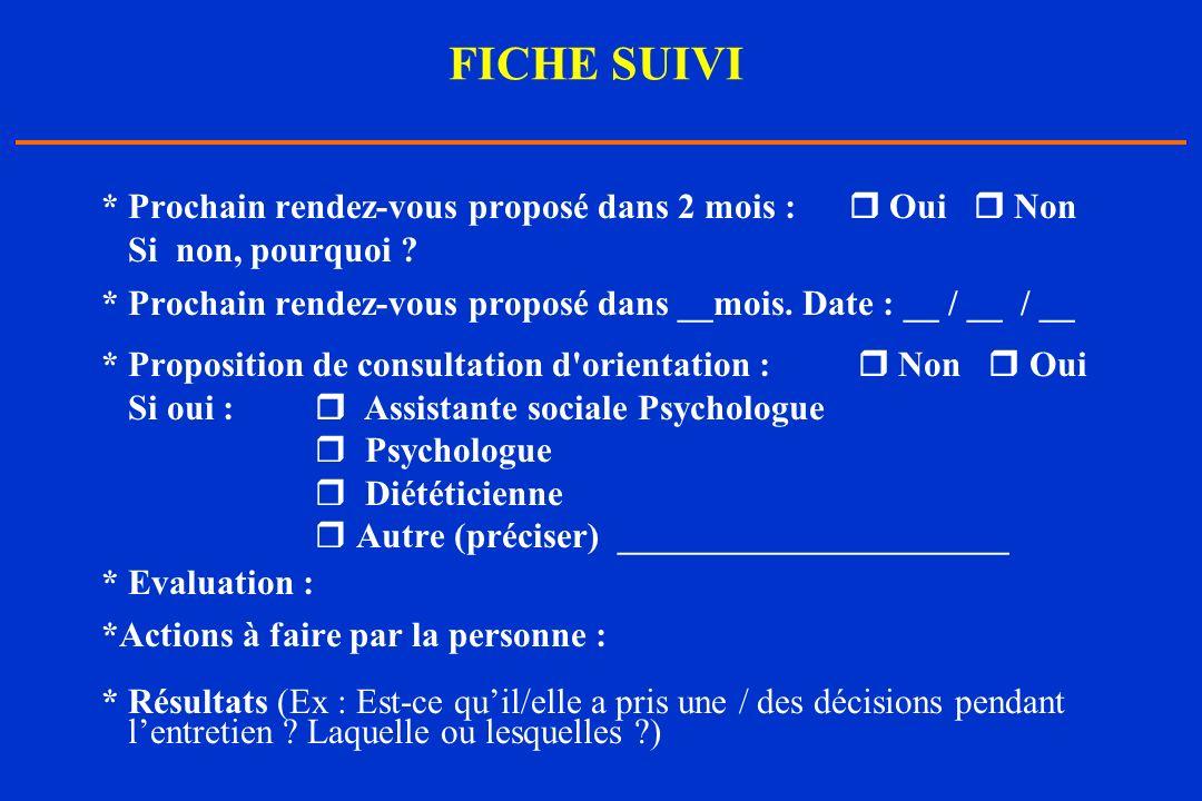 FICHE SUIVI * Prochain rendez-vous proposé dans 2 mois : Oui Non Si non, pourquoi ? * Prochain rendez-vous proposé dans __mois. Date : __ / __ / __ *